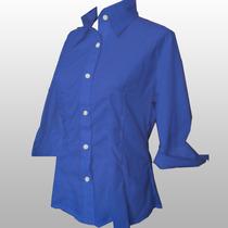 Camisa Dama Azul Liquidacion En Batista Entalle Manga 3/4