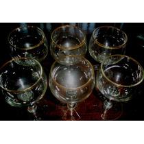 6 Copas De Vino Borde En Oro Y 3 Vasos Trago Corto Con Oro