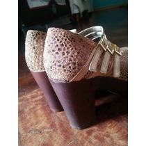 Zapatos Gamuza Dorados N°37, Viamo Impecables!!!