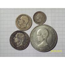 España 50 Centavos 1 - 2 Y 5 Pesetas Colección 4 Monedas De