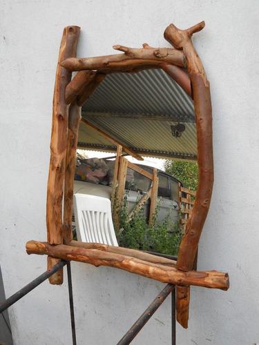 Espejo marco rustico de troncos artesanal 560 asgzg - Marcos rusticos para espejos ...