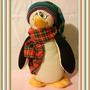 Pingüino Muñeco Country Pintado A Mano