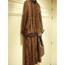 Vestido De Organza, De Seda Natural Color Chocolate- Talle L