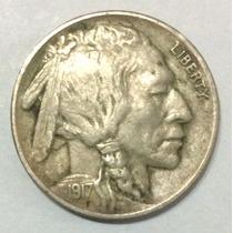 Moneda Estados Unidos 5 Centavos 1917. Búfalo. Indio