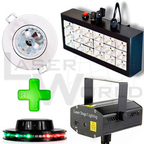 Combo Dj Lámpara Dicroica Rgb, Ovni Led, Mini Láser Y Flash