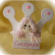 Souvenirs Corona Personalizada Con Carita Muñeca Princesa.
