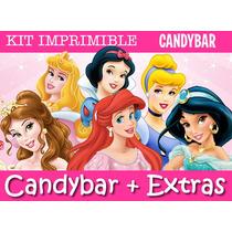 Kit Imprimible Princesas Disney - Candy Bar + Extras