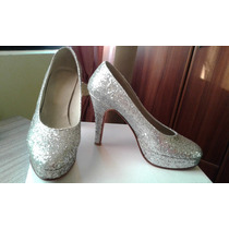 Zapatos De Fiesta Con Glitter Brillosos Color Plata!