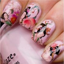 Sticker Tatoo Al Agua Decoracion De Uñas Geisha