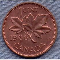 Canada 1 Cent 1966 * Hoja De Maple * Elizabeth Ii *