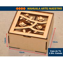 Caja De Té Tapa Calada 4 Div. Fibrofacil