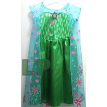 Disfraz Vestido Princesa Elsa Frozen Fever Con Capa