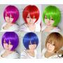 Pelucas Azul Violeta Rojo Fucsia Verde Cosplay Colores Corta