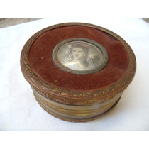 Muy Antigua Caja Alhajero Cofre Bronce