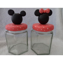 Souvenir Frascos Golosineros Mickey Y Minnie!!!