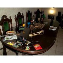 Mesa Antigua De Categoria Con Vidrio Y 6 Sillas