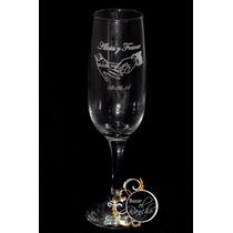 12 Copas Champagne Personalizadas Grabadas - Bodas, 15 Años.