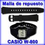 Malla De Reloj Casio W800 Original-caucho Negro-local Centro