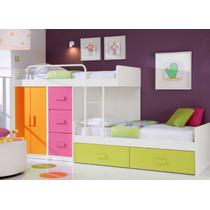 Dormitorio Infantil, Camas Desplazadas + Cajonera Y Placard