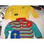 2 Sweaters Pulloveres Lana Tejido A Mano Verde Rojo Amaril6