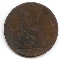 Moneda Inglaterra Gran Bretaña One 1 Penny Año1877 - Km 755
