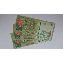 3 Billetes Correlativos De 500 Yaguarete Nuevos Sin Circular