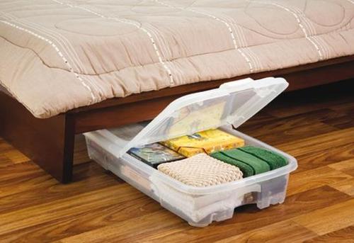 Caja plastica bajo cama c tapa ruedas y trabas 30 ltrs for Cajas bajo cama carrefour