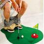 Mini Golf Para Baño/living Con Palo, Paño Y Hoyo Y Banderin!