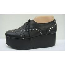 Zapatos Plataforma 40 Gotico Cuero Vaca Negro (ana.mar)