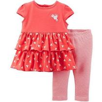 Carters Set Calzas-remerita Vestido-cardigan Bebe-nena