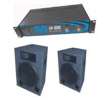 Combo Karaoke Basico Pot. Msound Ap 600 2 Bafles 2 Vias