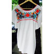 Blusa Con Flores Bordadas 100% Algodón, Mexicana