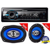 Set Car Audio Positron Stereo Usb Mp3 + 4 Parlantes 6 + 6x9