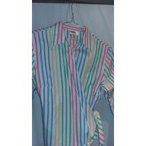 Camisa Talbots Petites Rallada Cruzada 100% Algodon