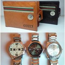 Billetera Cuero+reloj Hombre Combo Día Del Padre Oferta!!!