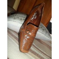 Zapatos Linea Mocasin Cuero C/ Reptil.nuevo A Estrenar!!