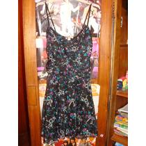 Vestido Corto De Gasa Sans Doute Negro, Turquesa Y Violeta