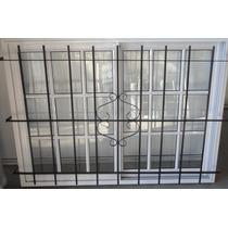 Ventana Aluminio Blanco Vidrio Repartido 150x110 C/ Reja Ø12