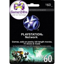 Psn Card Ps4 U$s 60 Usa - Combo : 50 + 10 O 3 X 20 Gamer24hs