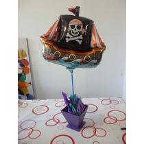 Globo Barco Piratas Jake Cotillón Mesa Dulce Centro De Mesa