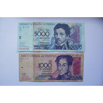 2 Billetes Bolívares De Venezuela - 5000 Y 1000