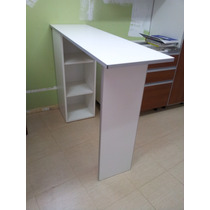 Desayunador Barra Cantos De Aluminio, Mueble Con 2 Estantes