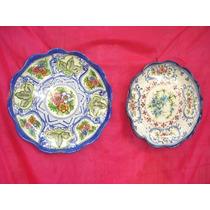 Antiguo Par De Platos Decorativos Ceramica Italiana 30 Cm.