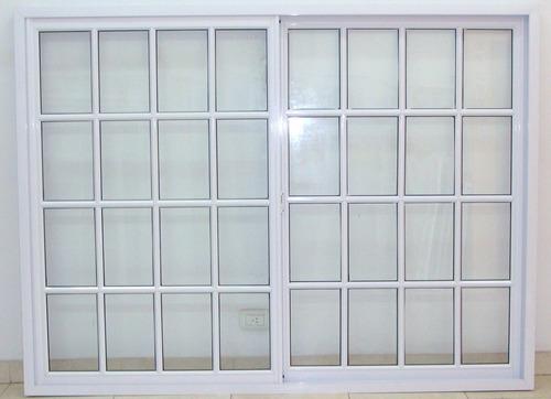 Ventanal aluminio blanco vidrio repartido 200x150 con for Ventanas de aluminio precios argentina