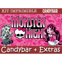 Kit Imprimible Monster High - Promo 3x1 - Candy Bar + Extras
