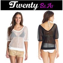 Top Crop Blusa Roxy Para La Playa, Bikini Y Malla.tendencia!