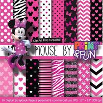 Kit Imprimible Pack Fondos Minnie Mouse 3 Clipart