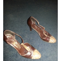 Zapatos Cuero Y Reptil Vintage N° 35