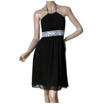 Vestido Negro Corto De Gasa Importado