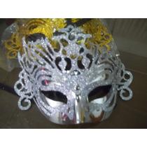 Mascara Veneciana Con Calado Y Brillos